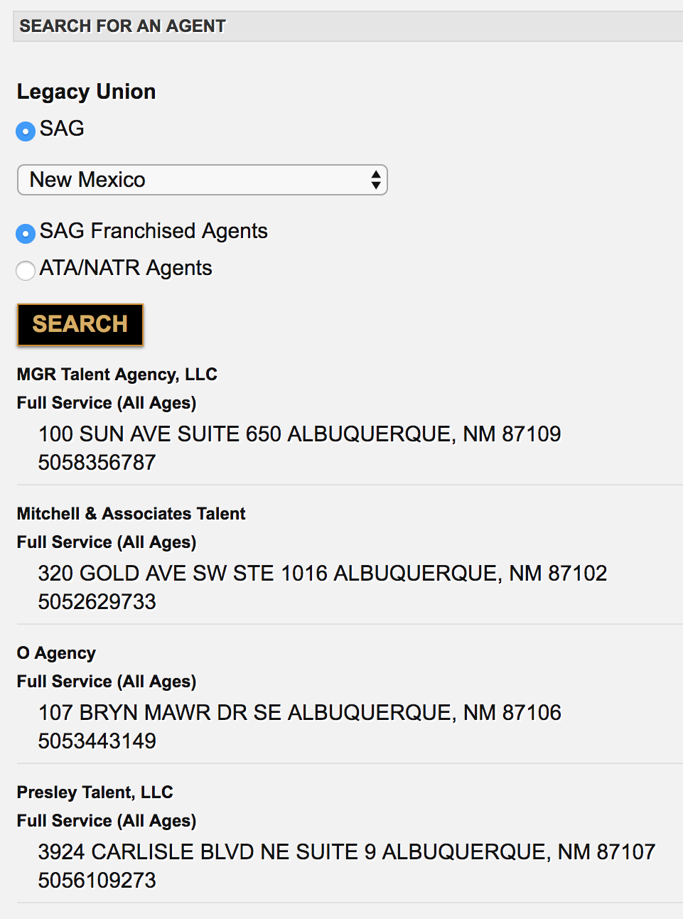 SAG-AFTRA Franchised Agents in New Mexico